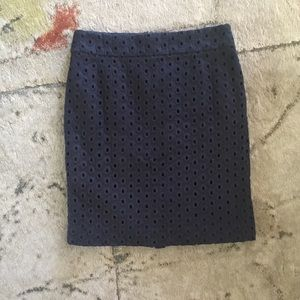 Navy J.Crew linen pencil skirt